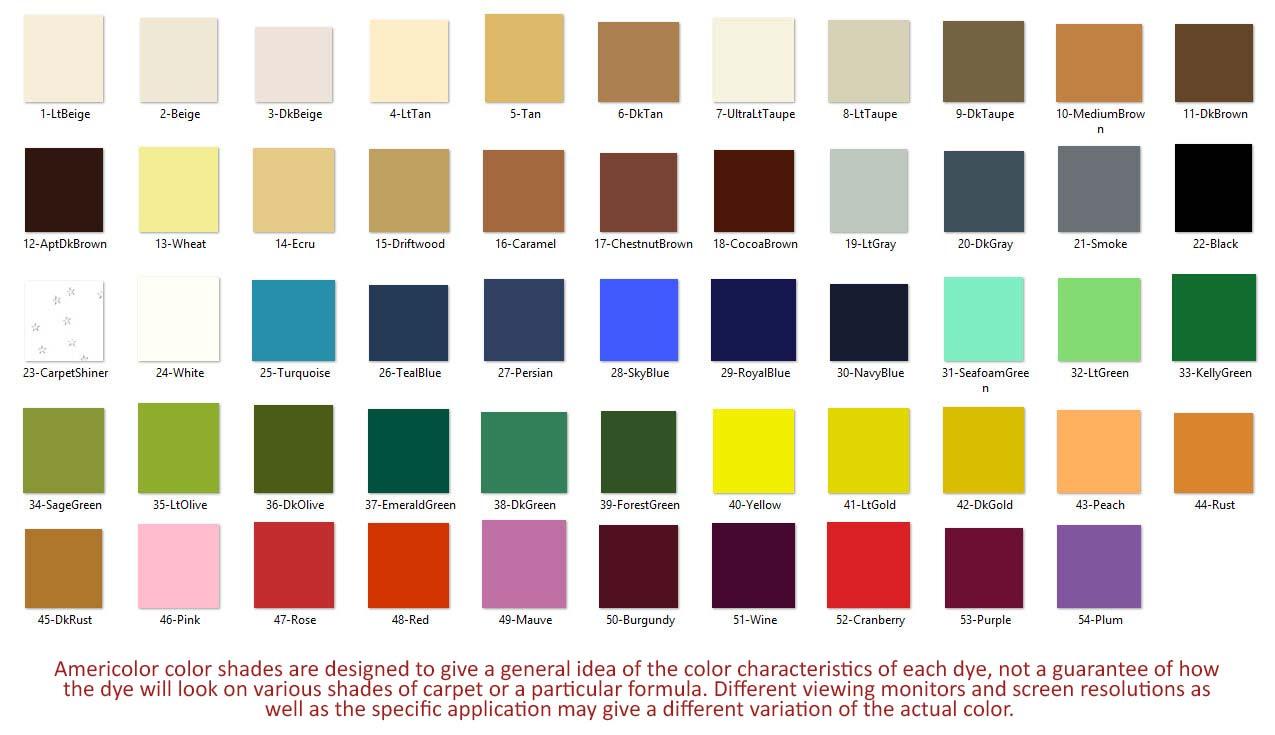 Carpet Dye Pen Colors - Americolor Dyes